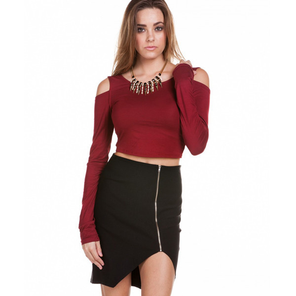 shirt lovers lane crop top makeup table vanity row rock vogue dress to kill chic cut-out burgundy
