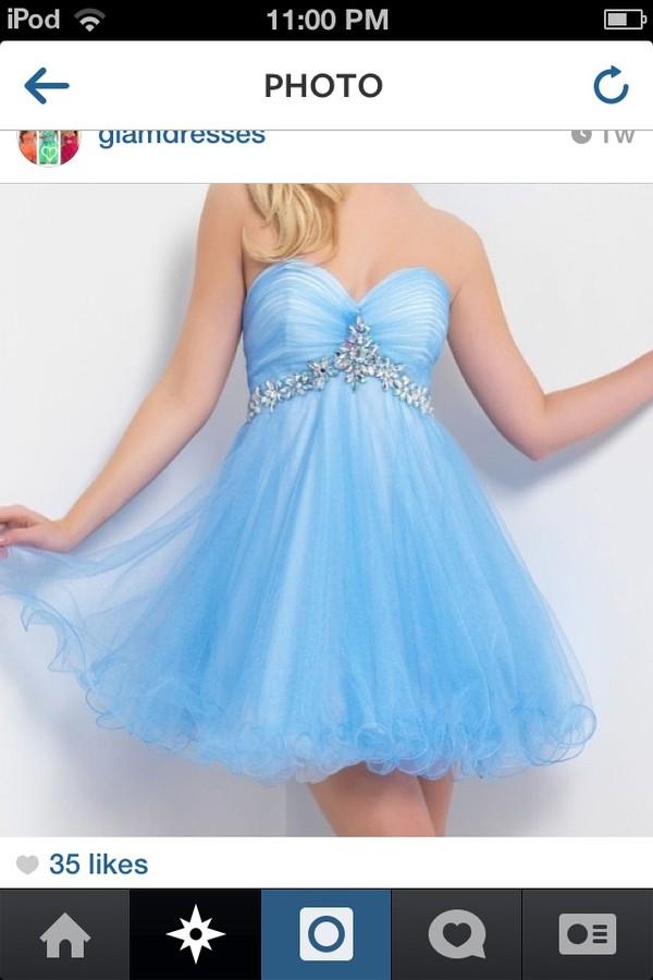 dress blue dress short dress light blue silver belt strapless dress prom dress