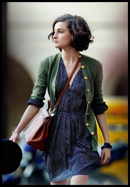 bag dress gilet green sweater sweater polka dots blue dress Nine d'Urso polka dress