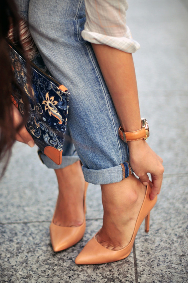 shoes heels nude style fashion summer jewels bag nude heels patent shoes stilettos cuffed jeans office outfits