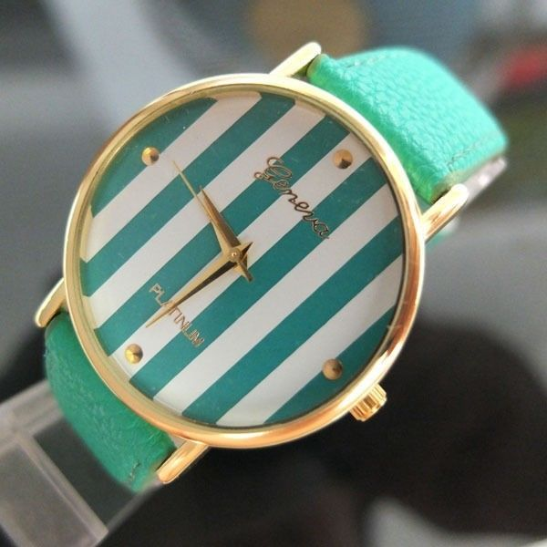 Mint Green Geneva Stripe Leather Like Band Watch New | eBay