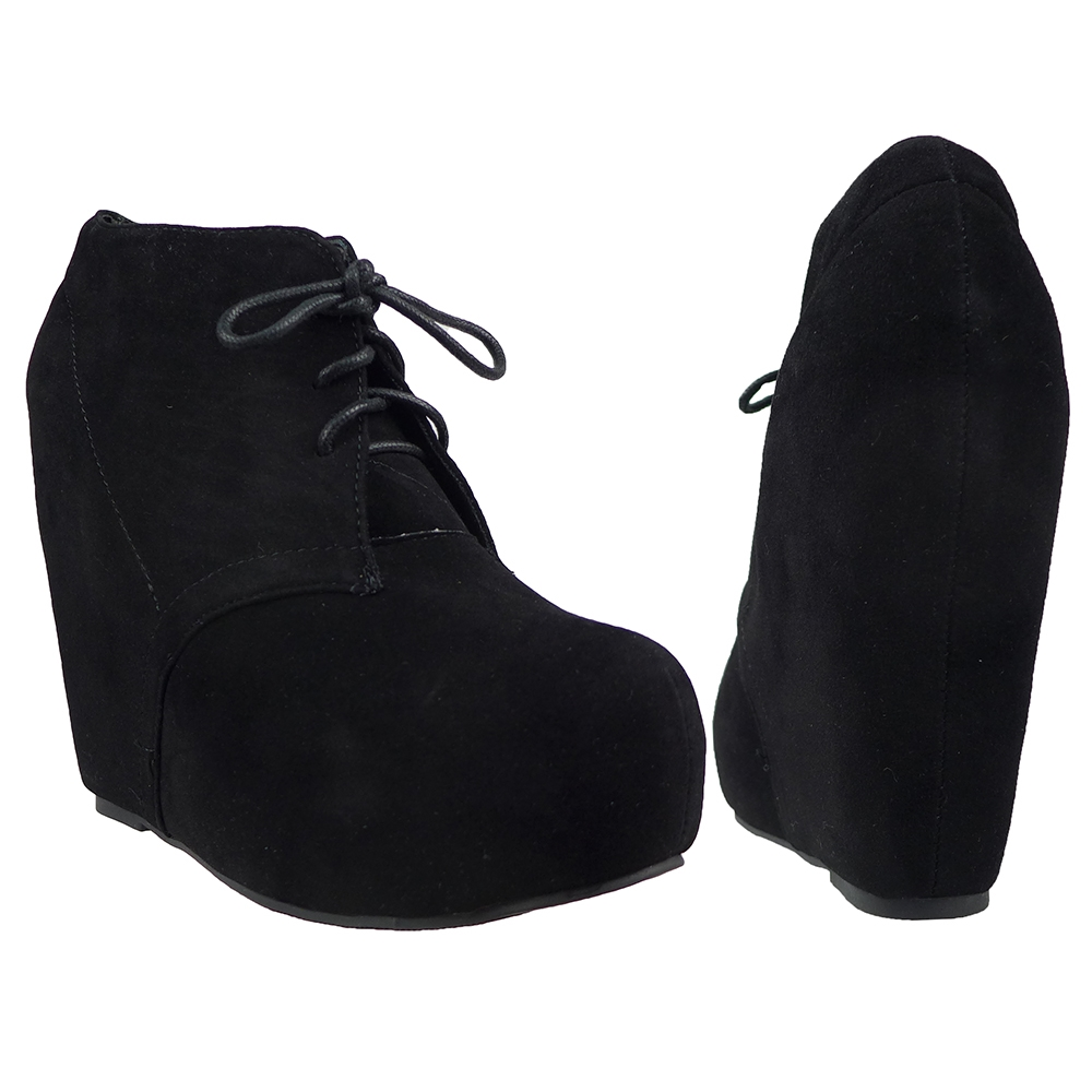 Womens Ankle Boots Sexy Hidden Platform High Heel Wedge Lace Up Shoes Black