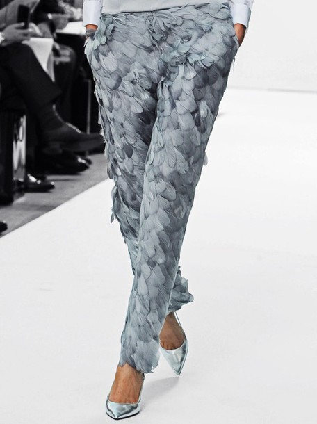 pants grey feathers