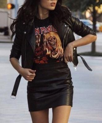 skirt leather trendy black black skirt girl girly pretty tights