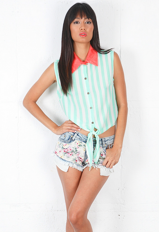 REVERSE Striped Tie Top in Green with Pink Collar | SINGER22.com