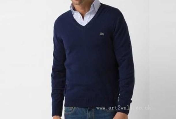 sweater shirt v neck pullover clothes menswear lacoste preppy