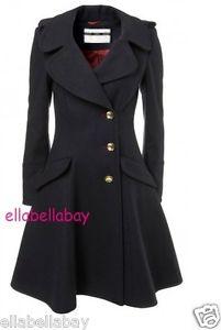 TOPSHOP Navy Fit & Flare Skirted Princess Riding Bandstand Wool Coat 10 38 US6 | eBay