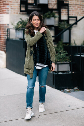 sequins and stripes blogger coat t-shirt jacket jeans shoes bag