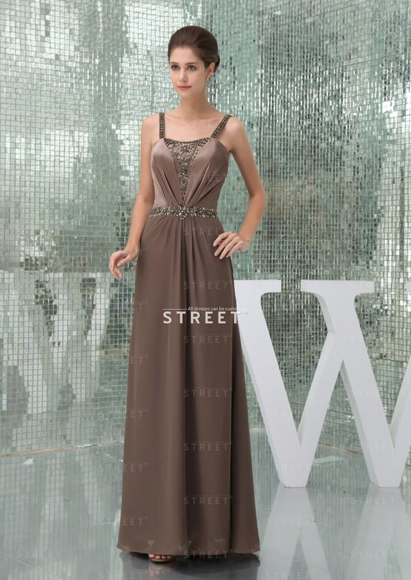 dress elegant spaghetti strap floor-length