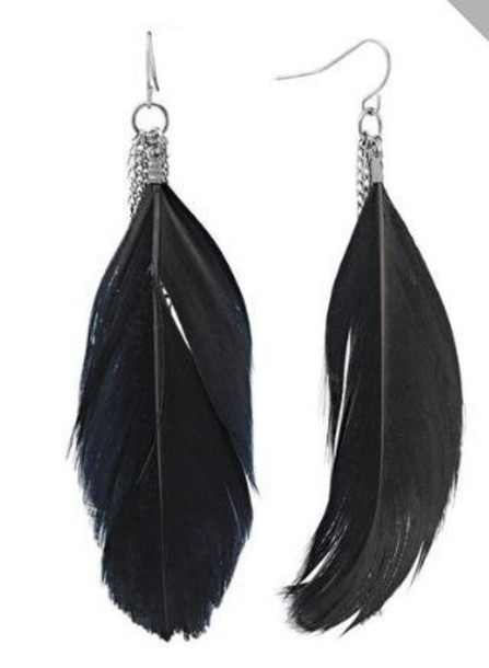 jewels feather earrings rhinestones