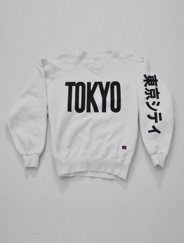 sweater white anime sweatshirt japanese t-shirt aesthetic japanese fashion cotton white sweater japan shirt
