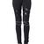 ROMWE | ROMWE Riveted Knee Faux Leather Panel Black Leggings, The Latest Street Fashion