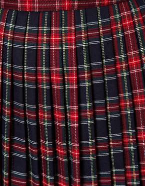 ASOS | ASOS Midi Skirt in Pleated Plaid  Check Print at ASOS