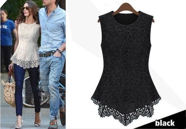 blouse lace blouse lace white black streetstyle