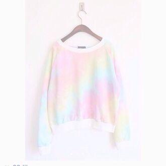 sweater rainbow print pastel pale rainbow pastel grunge pale grunge cute ariana grande