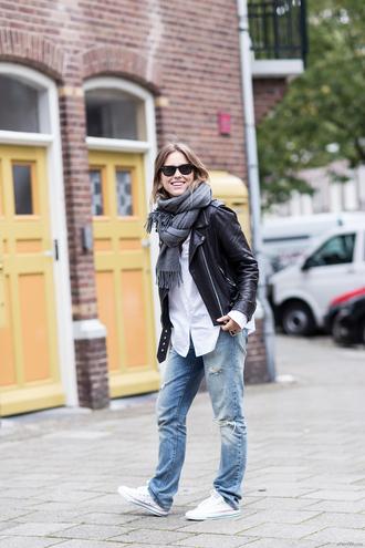 after drk blogger jacket jeans scarf sunglasses