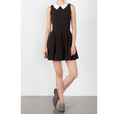 Paradis Collar Dress - Monochrome