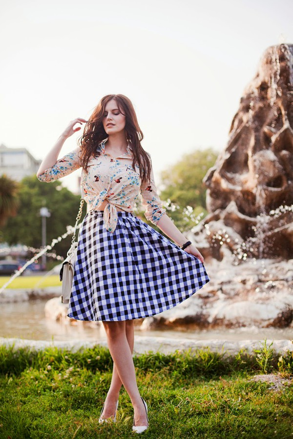the bow-tie blouse skirt jewels shoes bag