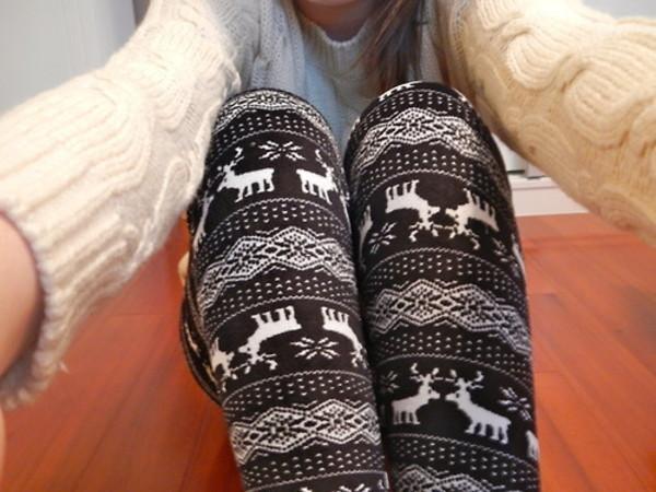 pants leggings deer leggings christmas leggings winter leggings winter pattern sweater