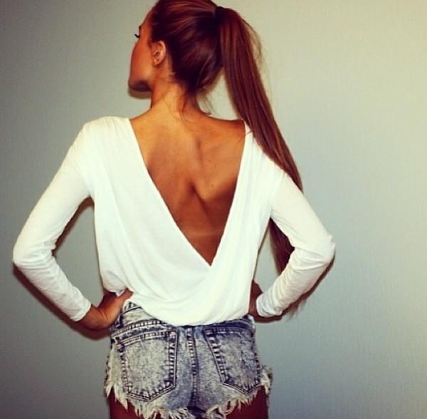 shorts blouse shirt white shirt low back shirt layered shirt