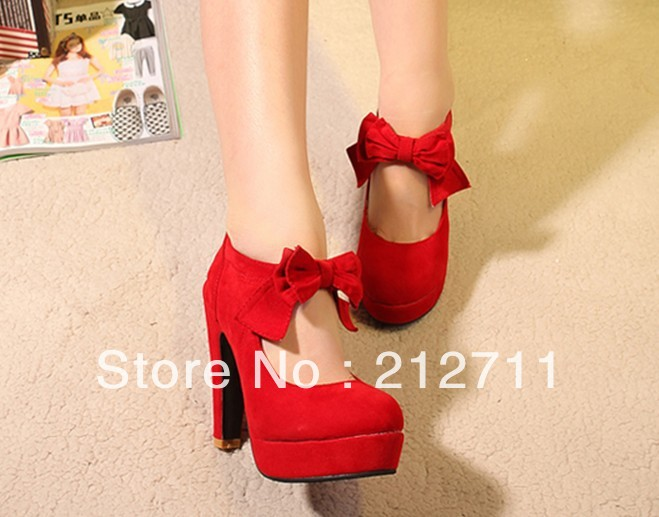 2013 single super high thick heel female shallow mouth bow high heeled pumps shoes,Free shipping-inPumps from Shoes on Aliexpress.com