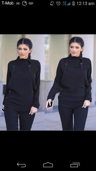 jumpsuit kylie jenner celebrity style celebrity black top black jumpsuit braid all black everything shirt