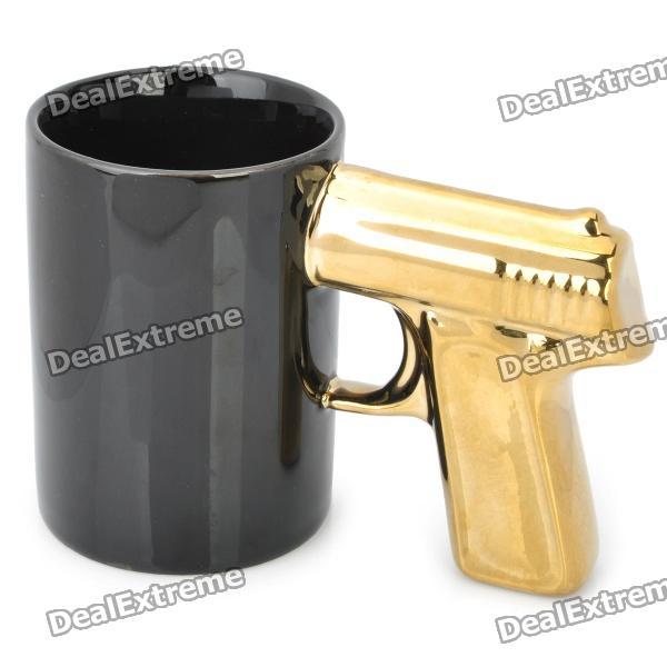 Cool Gun Style Ceramic Whiteware Mug Cup - Black   Golden (400ml) - Free Shipping - DealExtreme