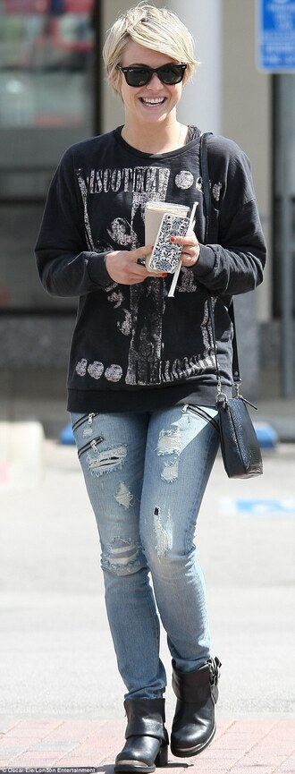 shoes julianne hough ankle boots metal black low boots