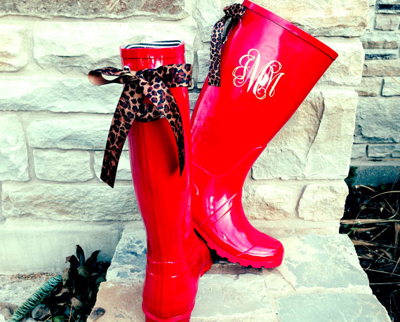 Tall Red Raspberry Gloss Rain Boots with by PuddlesNRainBows