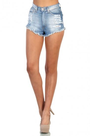LoveMelrose.com From Harry & Molly | High Waisted Denim Shorts - Blue