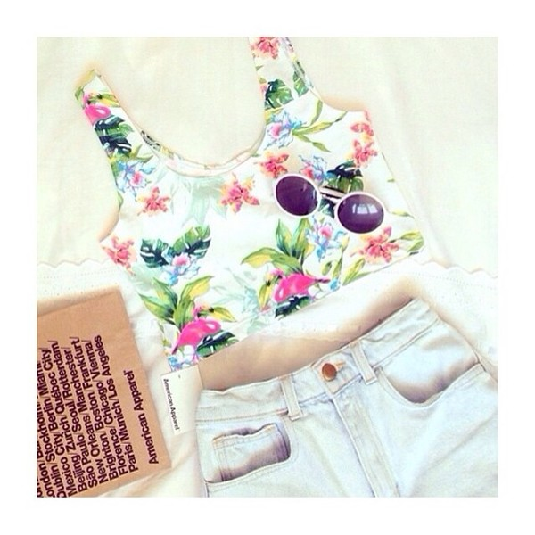 tank top flowers crop top cute cut shorts sunglasses tropical summer crop tops floral tank top