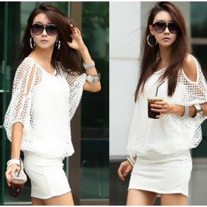 Solid Color Hollow Out Ladylike Style Packet Buttock Cut Out Bat-Wing Sleeves Dress For Women  for big sale!