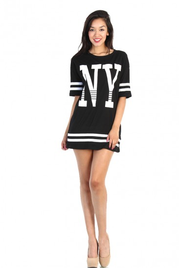 OMG NY Print Boxy Football Shirt - Black