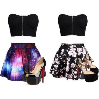 skirt galaxy print floral skater skirt