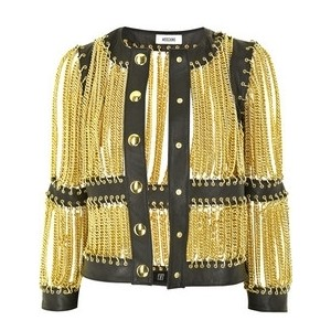 Moschino Jacket - Leather Trimmed Chain Jacket - Polyvore