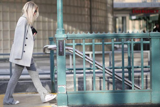 the fashion guitar blogger coat sweater pants bag sunglasses socks