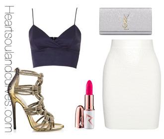 skirt style polyvore classy fashion shoes jimmy choo black crop top high heel sandals pink lipstick white skirt ysl ysl bag