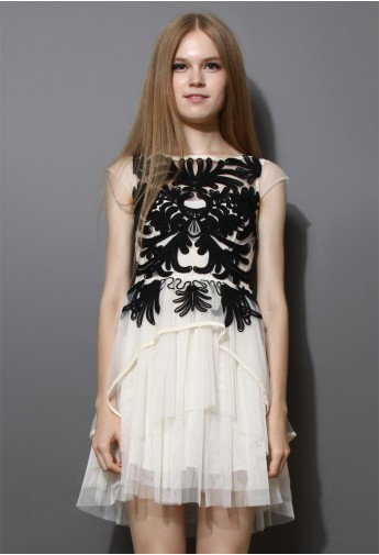 Contrast Floral Embossment White Tulle Dress - Retro, Indie and Unique Fashion