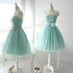 Robe de demoiselle d'honneur à court de conception sœurs robe verte menthe fraîche top tube bandage robe de