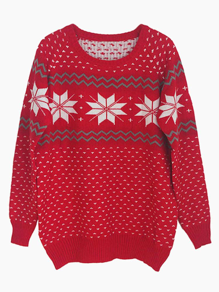 Loose Snowflake Sweater in Red | Choies