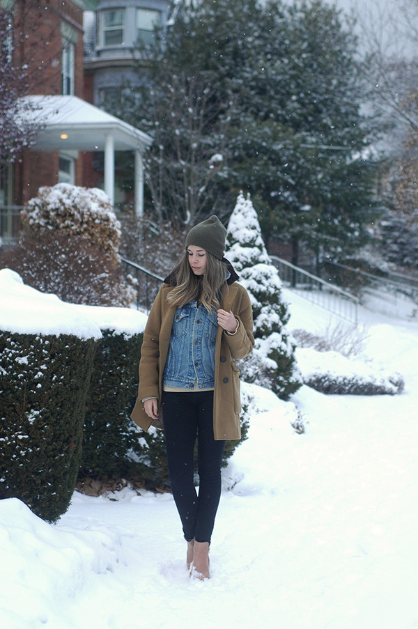 orchid grey coat sweater jacket jeans hat shoes