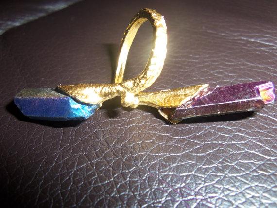 TwoPoint Flame Aura Titanium Quartz Ring  Gold by OceanOfFlowers