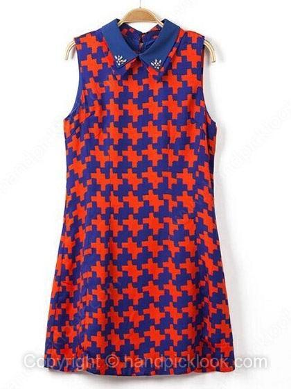 Red Lapel Sleeveless Plaid Rhinestone Dress - HandpickLook.com