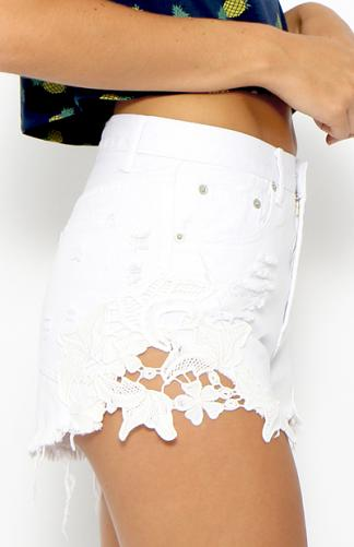 Toby Heart Ginger - Cheeky Crochet Cut Offs - White | Clothes | Peppermayo