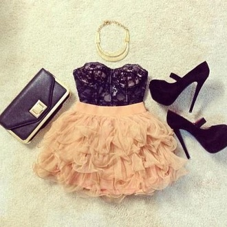 skirt fashion pink shoes blouse bag dress shirt pastel pink and black dress frilly dress high heels necklace gold necklace hoco pink dress gorgeous