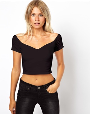 ASOS   ASOS Crop Top with Sweetheart Neck and Off Shoulder at ASOS