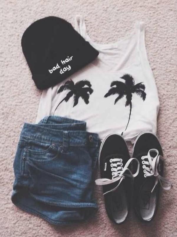 hat shorts shirt shoes black beanie tank top crop tops palm tree print denim vans white t-shirt
