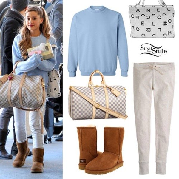 sweater ariana grande louis vuitton ugg boots light blue bag pants clothes shirt blue white sweatpants sweats cream straps blue and white checkered bag