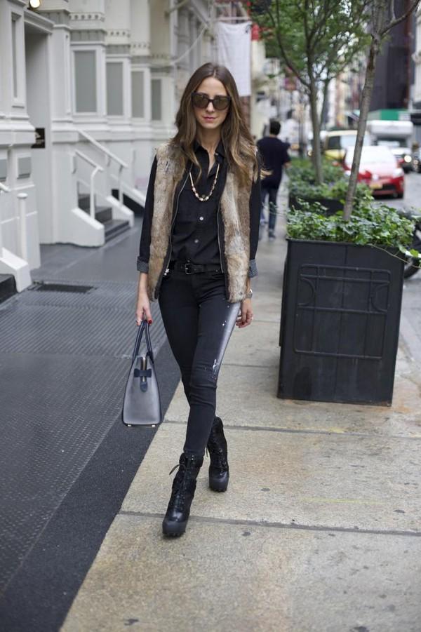 something navy jeans shoes shirt jacket sunglasses bag