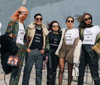 t-shirt top pants skirt streetstyle ny fashion week 2017 nyfw 2017